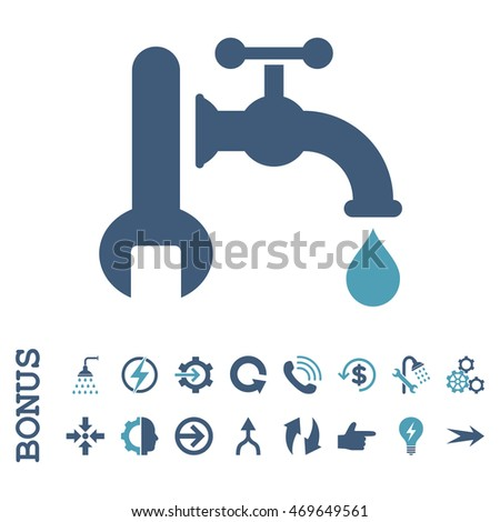 Plumbing vector bicolor icon. Image style is a flat iconic symbol, cyan and blue colors, white background.