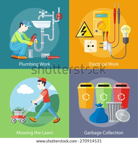 Plumbing work. Sanitary works. Plumber and wrench. Man moves with lawnmower, mows green grass near house. Garbage and recycling cans collection concept. Electrical work. Socket with devices - stock vector