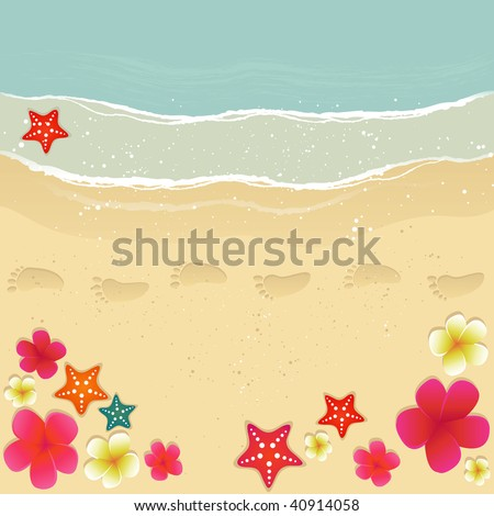 Plumerias, starfishes and footprints on the sand. - stock vector