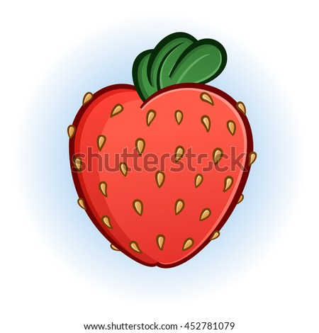 Plump Juicy Strawberry Cartoon Illustration - stock vector