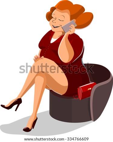 Plump woman - stock vector