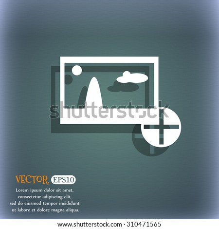 Plus, add File JPG sign icon. Download image file symbol. On the blue-green abstract background with shadow and space for your text. Vector illustration - stock vector