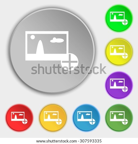 Plus, add File JPG sign icon. Download image file symbol. Symbols on eight flat buttons. Vector illustration - stock vector