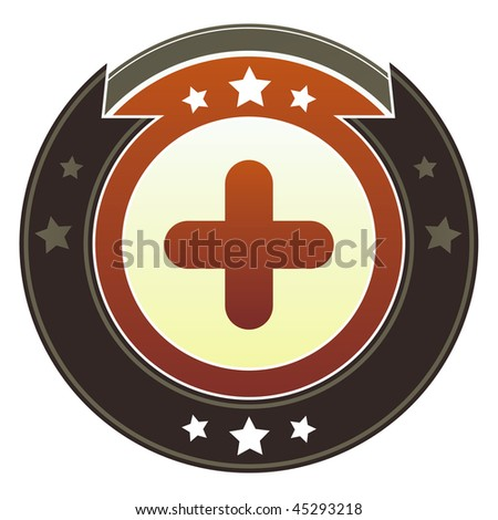 Plus, add, or expand icon on round red and brown imperial vector button with star accents
