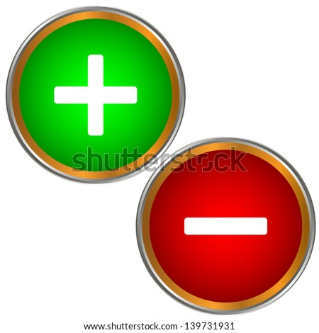 Plus and minus buttons on a white background - stock vector