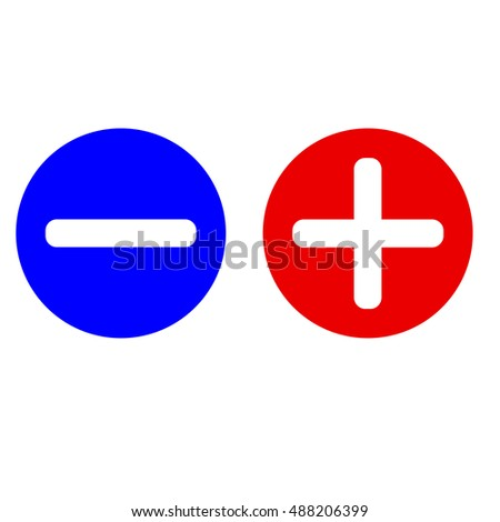 Plus and minus icon set in circle blue and red