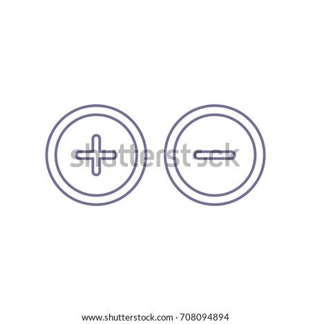Plus Minus Sign Circle Icon Zoom Stock Photo Photo Vector