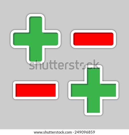 plus and minus - two versions in green and red color on a gray background - stock vector