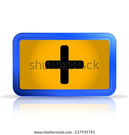 Plus icon. Isolated on white background. Specular reflection. Made vector illustration - stock vector