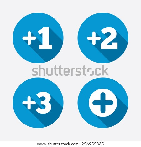 Plus icons. Positive symbol. Add one, two, three and four more sign. Circle concept web buttons. Vector - stock vector