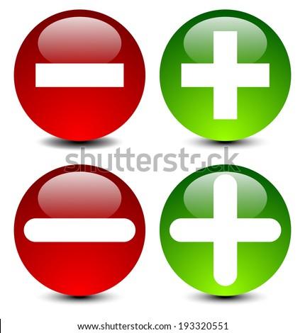 Plus minus signs in 2 versions. - stock vector