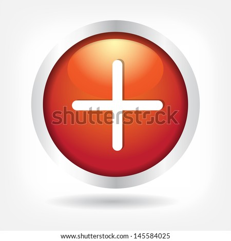 Plus on a red button. Vector Eps 10 - stock vector