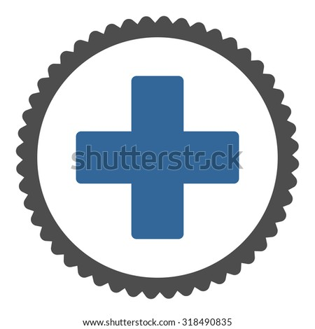 Plus round stamp icon. This flat vector symbol is drawn with cobalt and gray colors on a white background. - stock vector