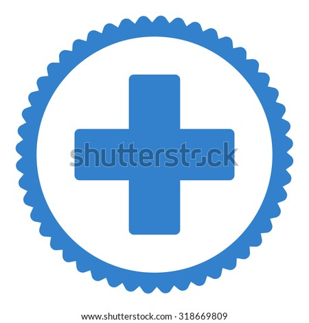 Plus round stamp icon. This flat vector symbol is drawn with cobalt color on a white background. - stock vector