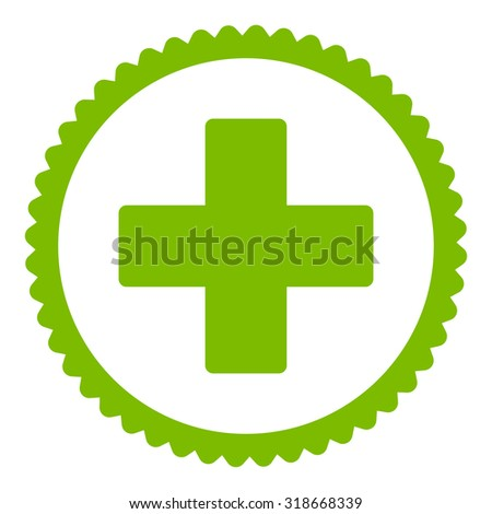 Plus round stamp icon. This flat vector symbol is drawn with eco green color on a white background. - stock vector