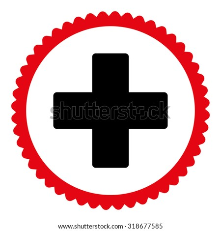 Plus round stamp icon. This flat vector symbol is drawn with intensive red and black colors on a white background. - stock vector