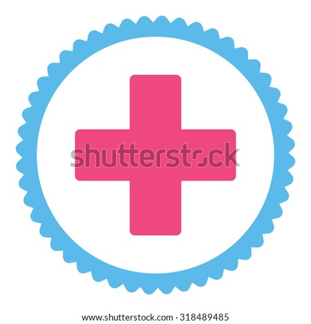 Plus round stamp icon. This flat vector symbol is drawn with pink and blue colors on a white background. - stock vector