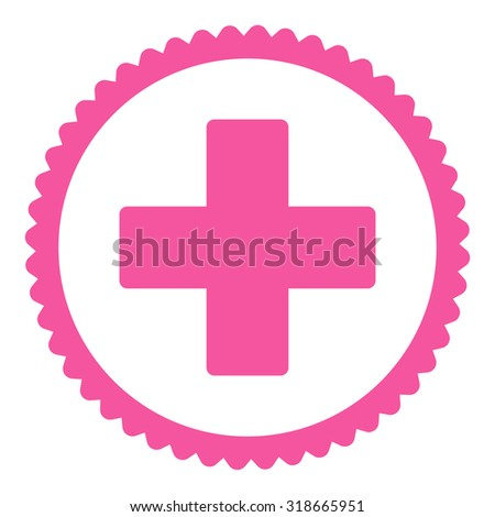 Plus round stamp icon. This flat vector symbol is drawn with pink color on a white background. - stock vector