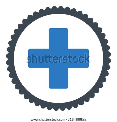 Plus round stamp icon. This flat vector symbol is drawn with smooth blue colors on a white background. - stock vector