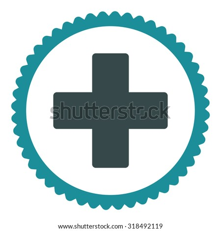Plus round stamp icon. This flat vector symbol is drawn with soft blue colors on a white background. - stock vector