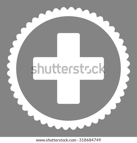 Plus round stamp icon. This flat vector symbol is drawn with white color on a gray background. - stock vector