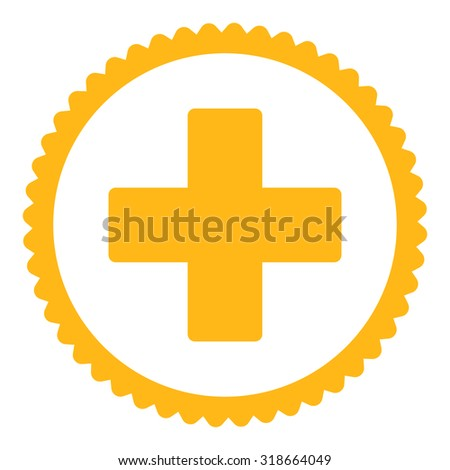 Plus round stamp icon. This flat vector symbol is drawn with yellow color on a white background. - stock vector
