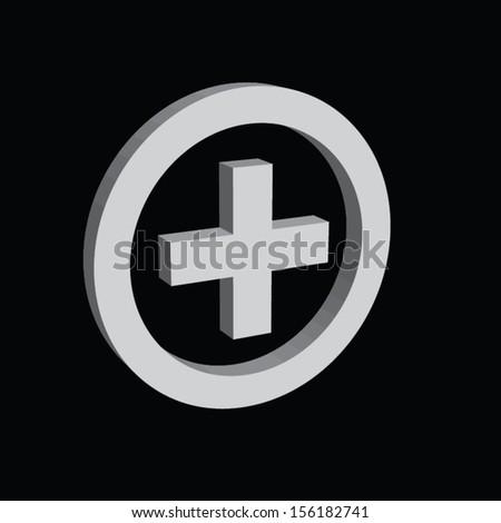 plus sign button design. vector illustration. - stock vector