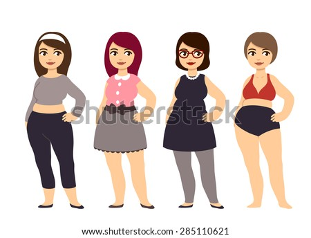 Plus size fashion. Young and pretty cartoon style chubby girl wearing cute clothes. - stock vector