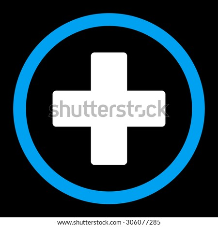 Plus vector icon. This rounded flat symbol is drawn with blue and white colors on a black background. - stock vector