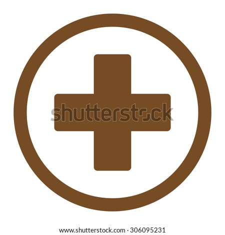 Plus vector icon. This rounded flat symbol is drawn with brown color on a white background. - stock vector