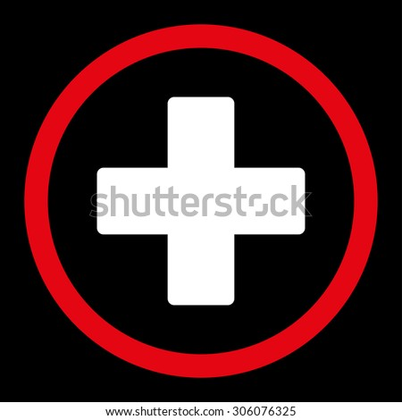 Plus vector icon. This rounded flat symbol is drawn with red and white colors on a black background. - stock vector