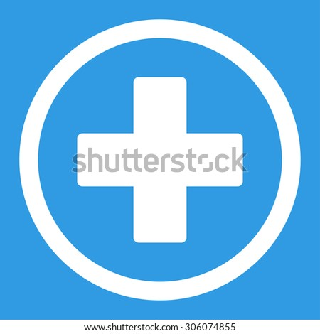 Plus vector icon. This rounded flat symbol is drawn with white color on a blue background. - stock vector