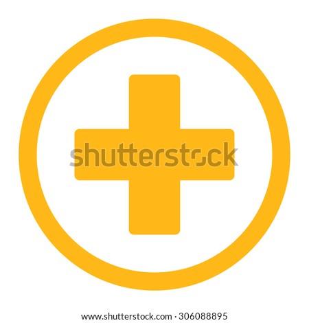 Plus vector icon. This rounded flat symbol is drawn with yellow color on a white background. - stock vector