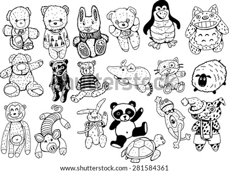 Plush Toys Black and White Collection ,vector - stock vector