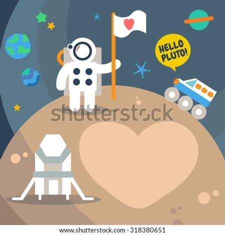 Pluto Planet space traveler, Flat Design Elements. Vector Illustration. - stock vector