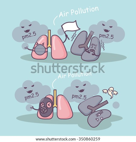 PM 2.5 is unhealthy to lung, great for health care concept - stock vector