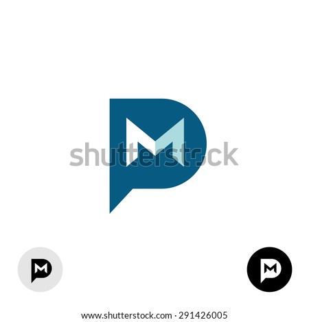 PM letters logo. Private message abbreviation with speech bubble and mail envelope shape. - stock vector