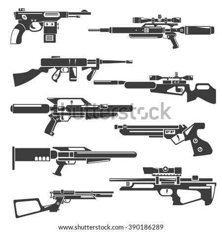 pneumatic gun, futuristic pneumatic weapons - stock vector