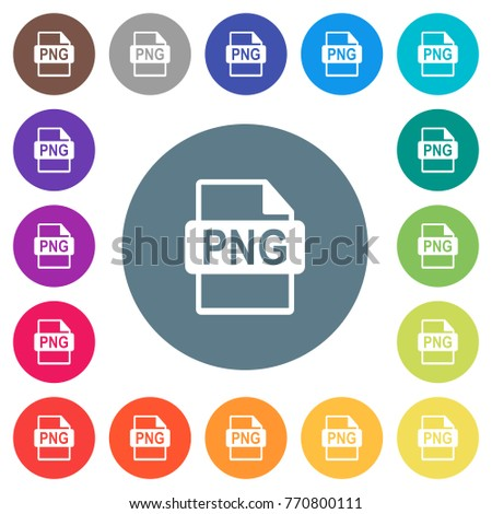 PNG File Format Flat White Icons On Round Color Backgrounds 17 Background Variations Are