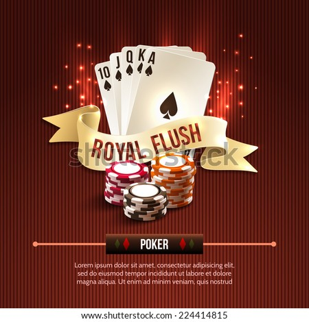 Pocker casino gambling set with cards chips and royal flash ribbon on red background vector illustration - stock vector