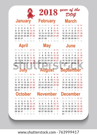 pocket calendar 2018 year dog vertical stock vector 763999417 shutterstock. Black Bedroom Furniture Sets. Home Design Ideas