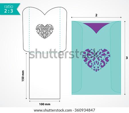 Pocket Envelope Template Die Cut Heart Stock Vector - Wedding invitation envelope design templates