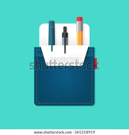 Pocket jeans with denim pocket protector with pens, pencils flat modern symbol, abstract bag, stationery shop emblem concept, office supplies, design vector illustration isolated on green background - stock vector