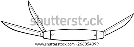 pocket knife - stock vector