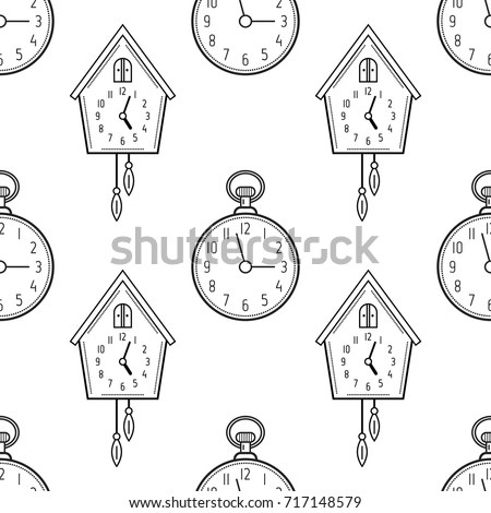 Pocket Watch And Cuckoo Clock Black White Seamless Pattern For Coloring Books Pages