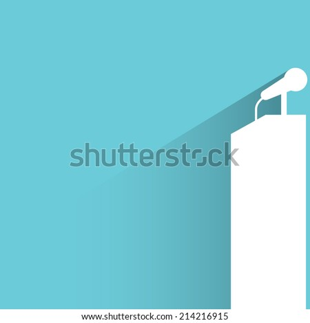 podium and microphone on blue background - stock vector