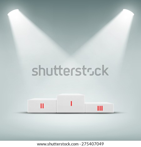 Podium for winner illuminated spotlights. Vector Image. - stock vector