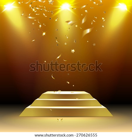 podium in the rays of light with confetti - stock vector