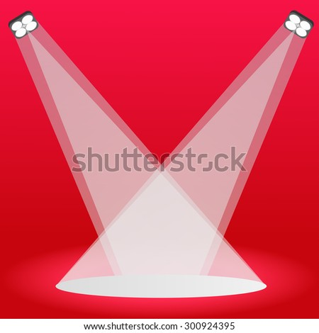 Podium on stage, red color background - stock vector