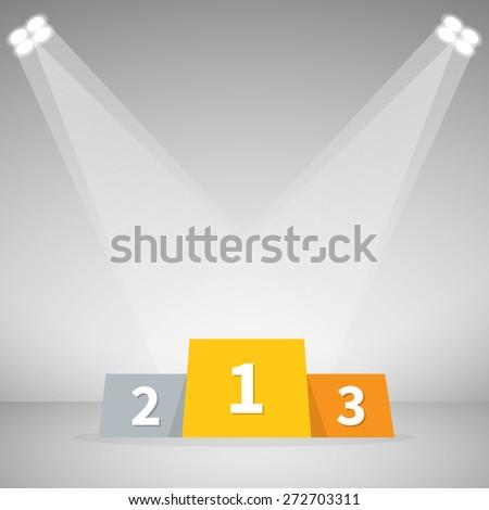 Podium on stage, Winner, Vector illustration - stock vector